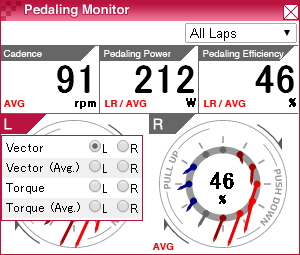 pedaling monitor window (cparameter)