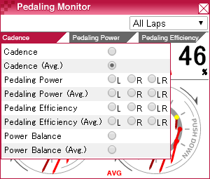 pedaling monitor window (tparameter)